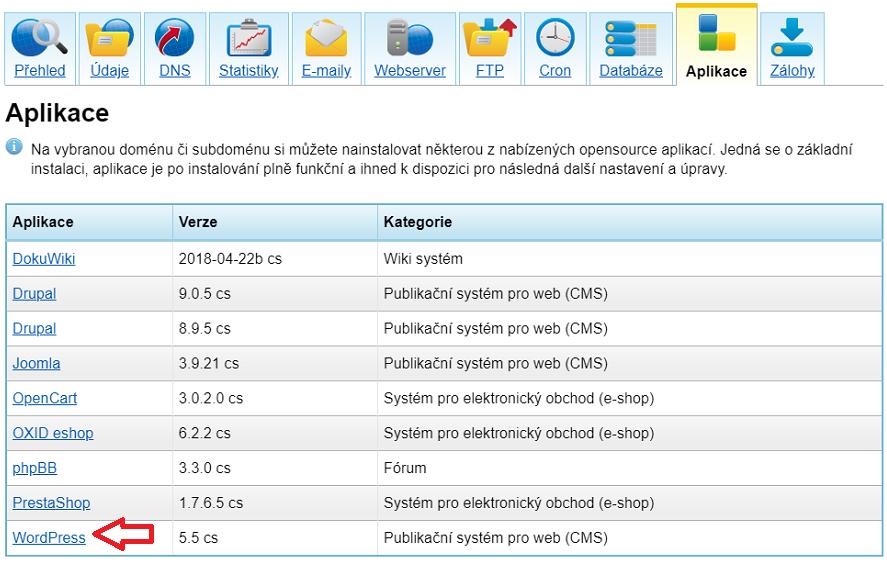 Screen výběru aplikace WordrPress k instalaci v klientské sekci Český Hosting